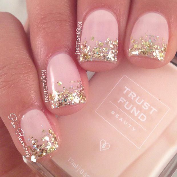Glittery Pink Nail Design for Short Nails - 18 Great Nail Designs For Short Nails - Pretty Designs