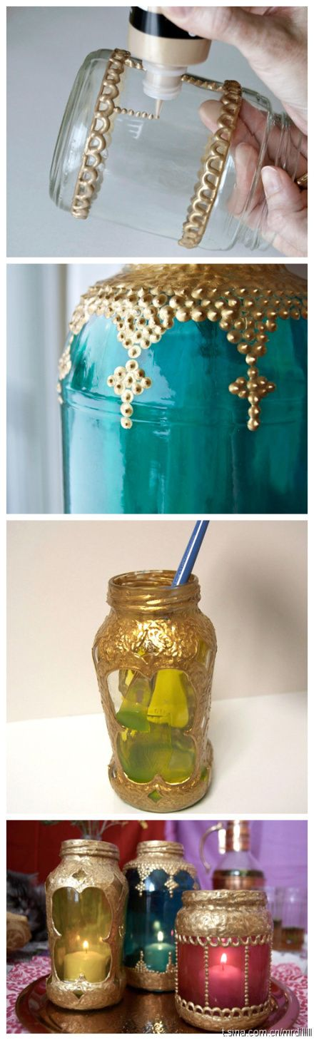 Gold Embellished Mason Jars