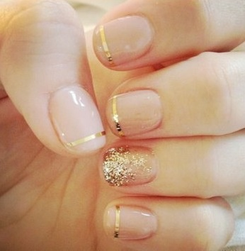 Gold Wedding Nail Idea