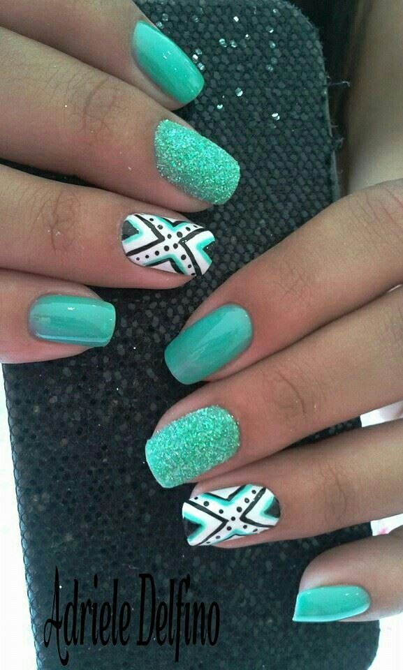 Green Aztec Nail Art Design
