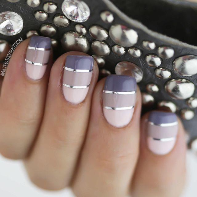 Grey and Silver Nail Art Design