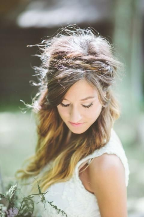 Half Up Half Down Wedding Hairstyle with Braided Headband