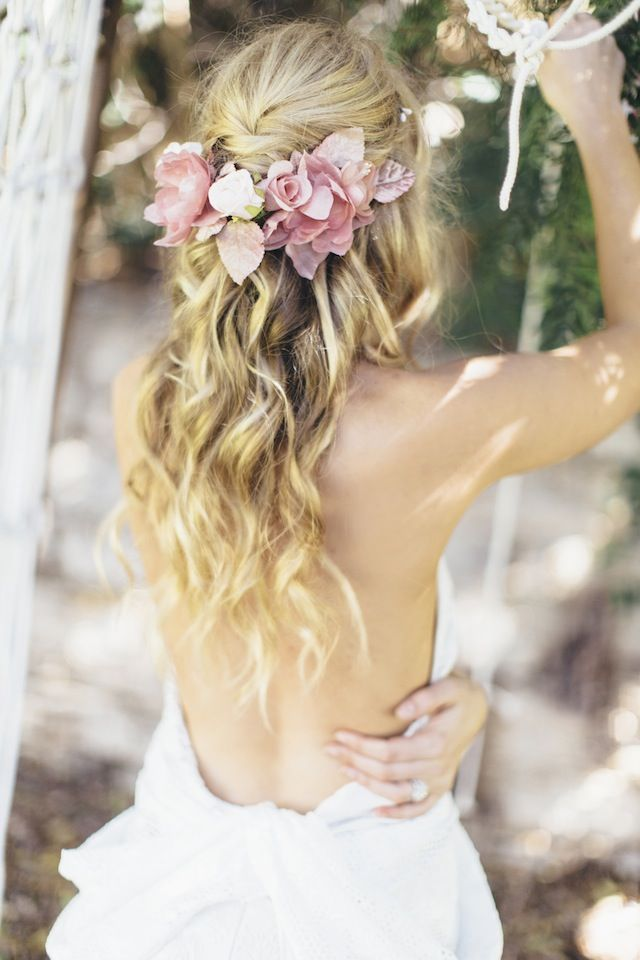 Half Up Half Down Wedding Hairstyle with Flower