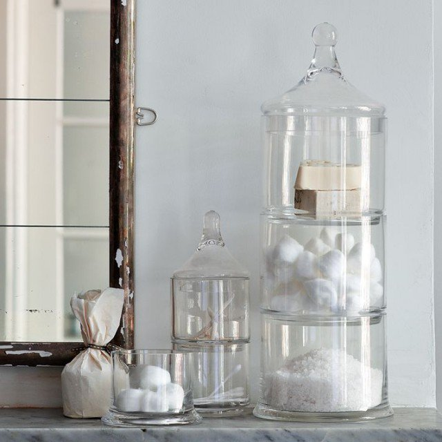 . Bathroom Glass Canisters