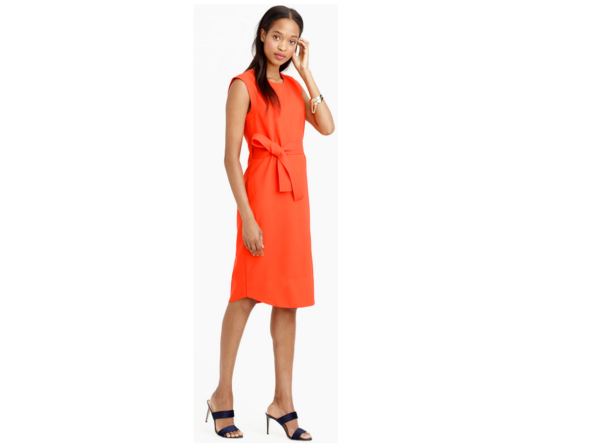 J.Crew Sleeveless Belted Dress In Italian Wool Crepe, $198