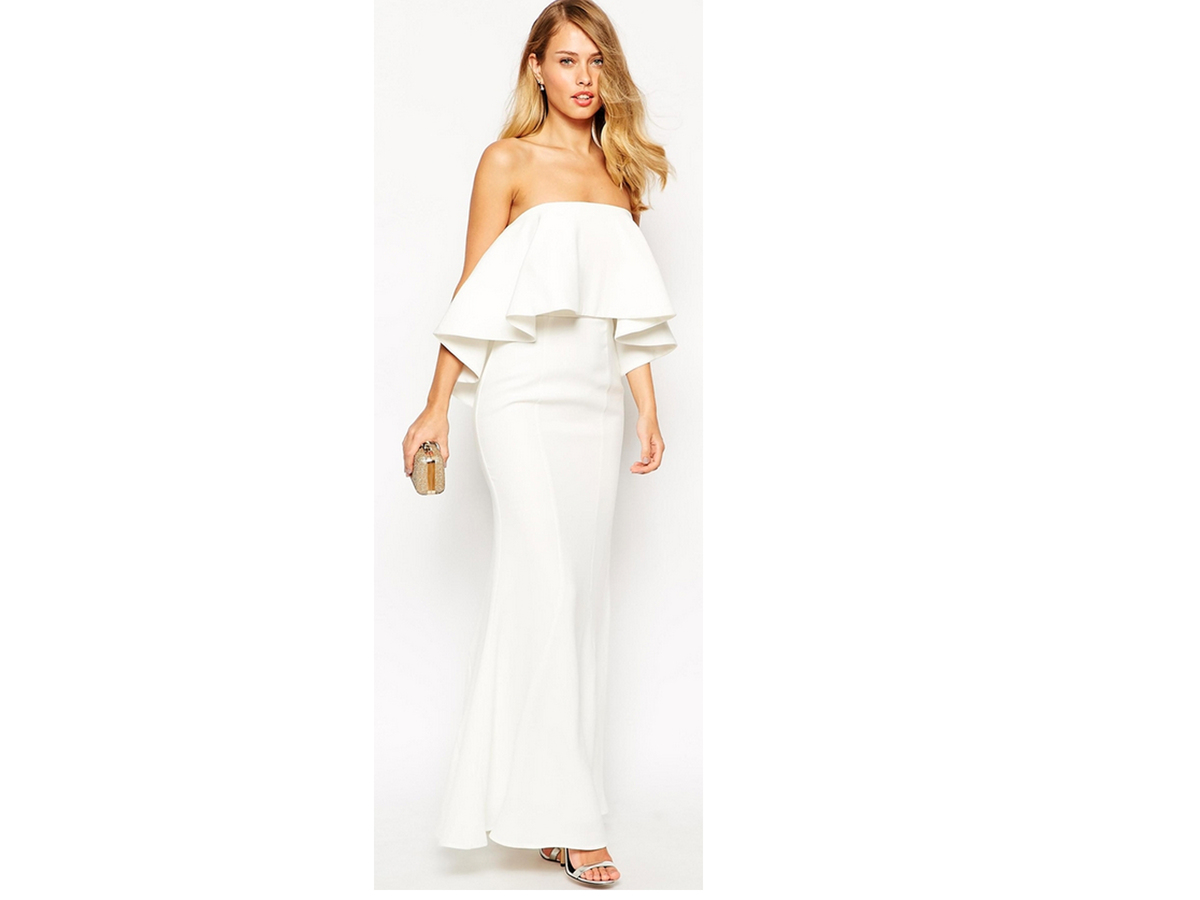 Jarlo Lily Bandeau Maxi Dress With Exaggerated Frill, $199
