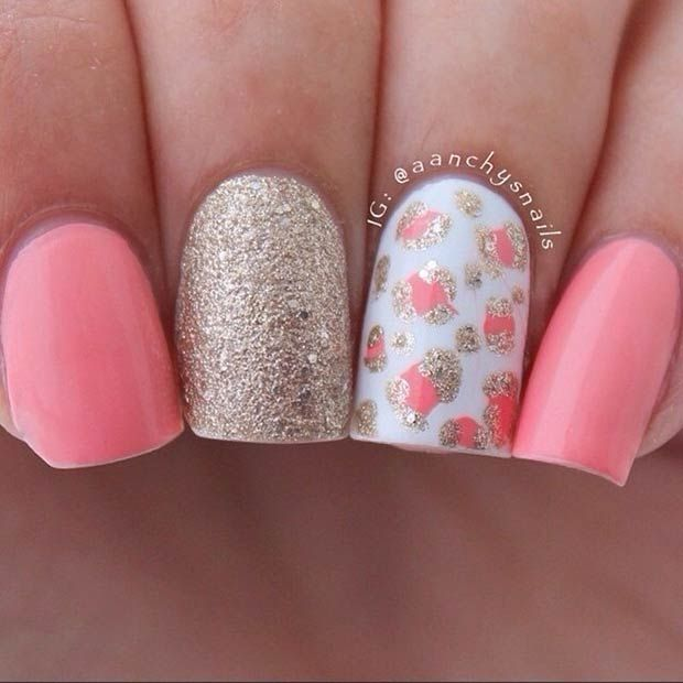 Light Pink & Gold Nail Design - 15 Cute Summer Nail Art Ideas For 2016 - Pretty Designs