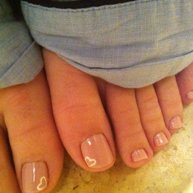Mini Heart Toe Nail Design
