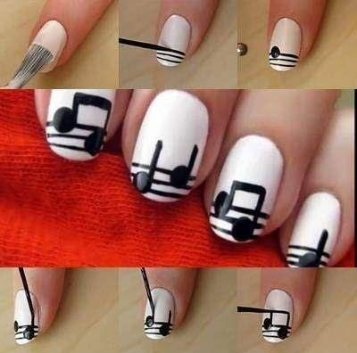 Music Notes Nail Design Tutorial