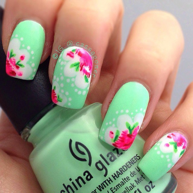nail art design with flowers via orange nail art design