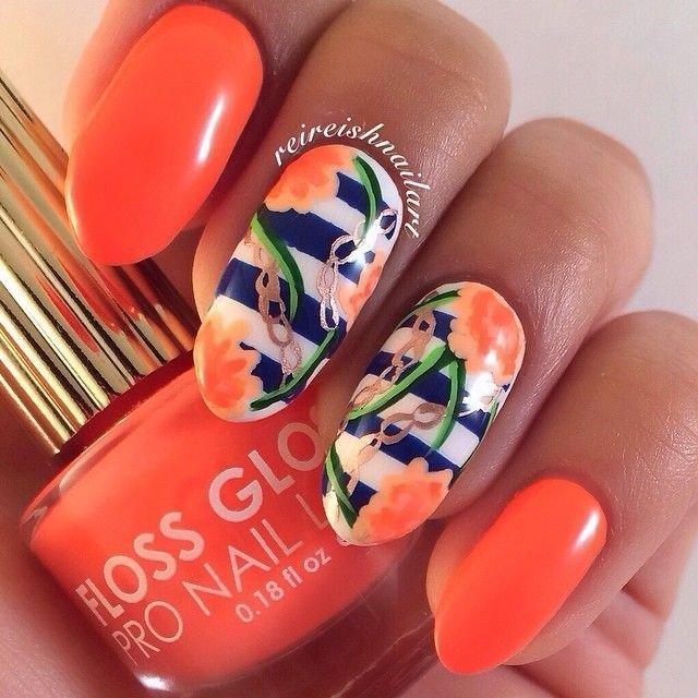 Оранжевые ногти дизайн 2017-2018