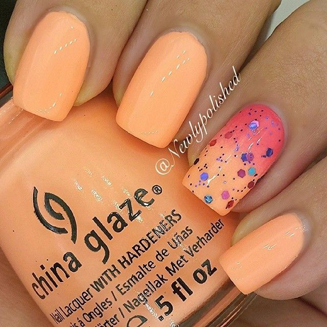 orange nail design idea - Cool Nail Design Ideas