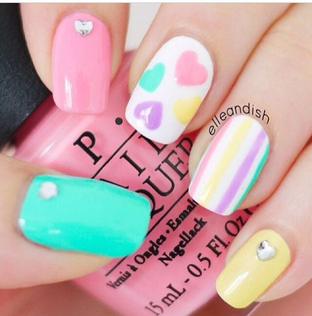 Pastel Nail Design For Long Nails