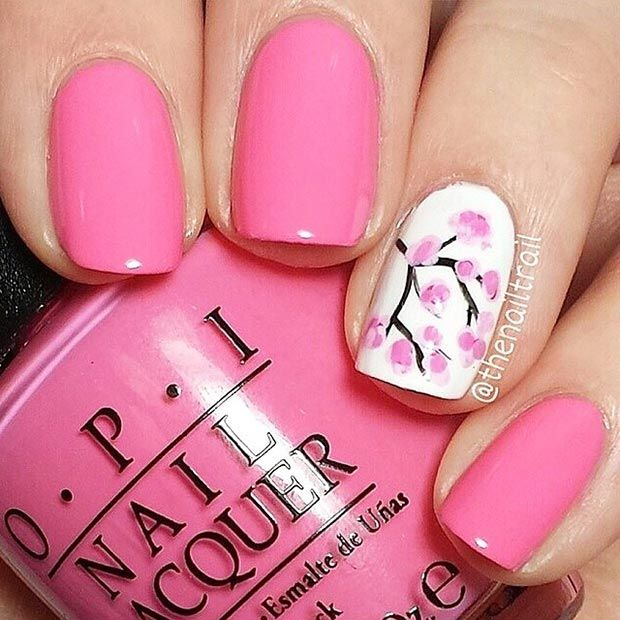 23 sweet spring nail art ideas designs for 2018 pink nail art design prinsesfo Choice Image