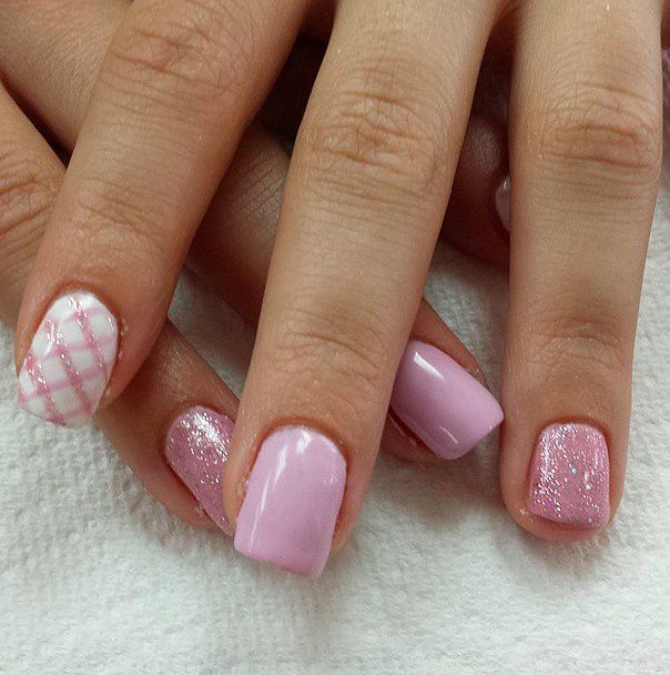 Pink Plaid Nail Art Design - 23 Sweet Spring Nail Art Ideas & Designs For 2018