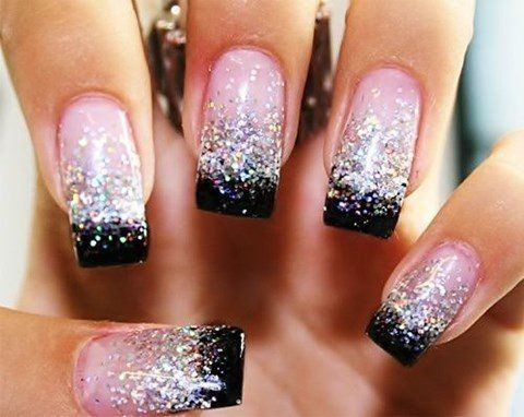 Pink and Black Wedding Nail Idea