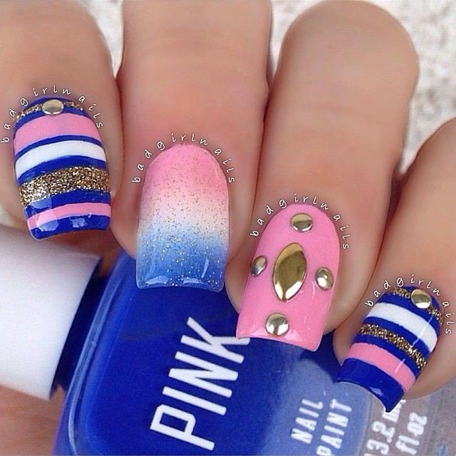View Images Creative manicure ideas pretty designs - Nail Art Designs With Blue And Pink ~ Ombre Nail Art Designs