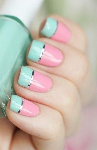 Pink and Blue Nail Art Design