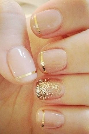 Pink and Gold Nail Design for Long Nails
