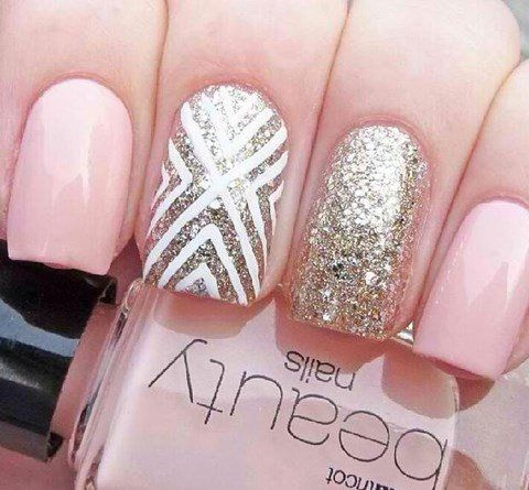 Pink and Gold Wedding Nail Idea