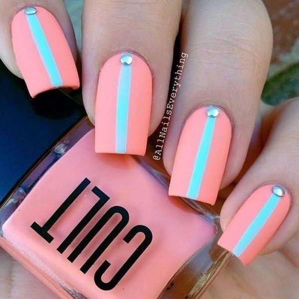 pink and green nail art design - Simple Nail Design Ideas