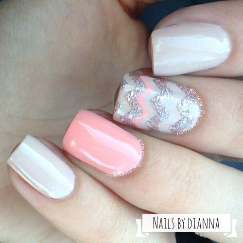 Pink and Grey Nail Art Design