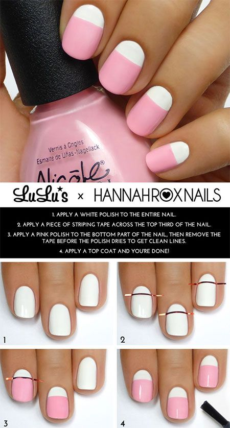 Pink and White Nail Design Tutorial - 25 Easy Step By Step Nail Tutorials For Girls - Pretty Designs