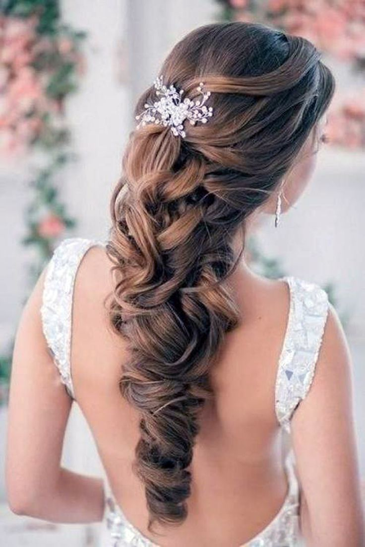 Pinned Up Half Up Half Down Wedding Hairstyle