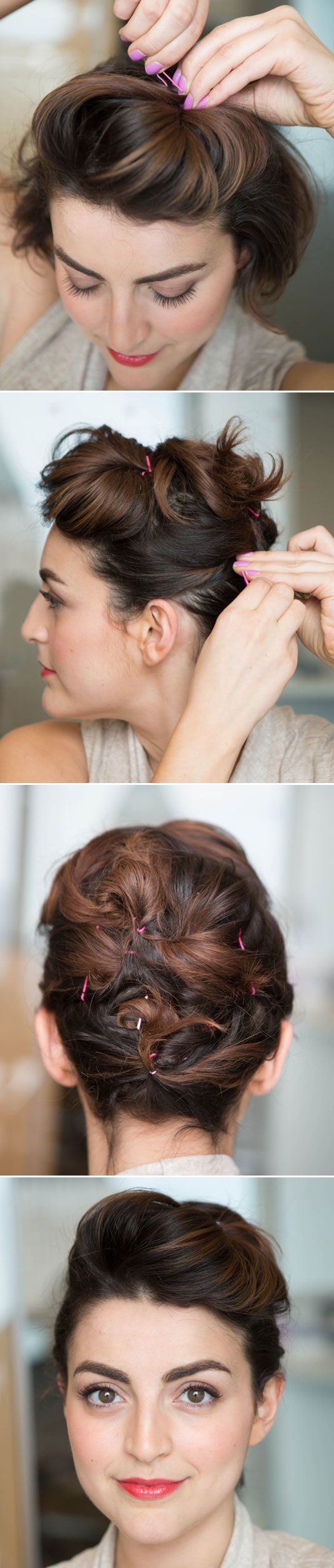 Pinned Updo Hairstyle Tutorial for Short Hair