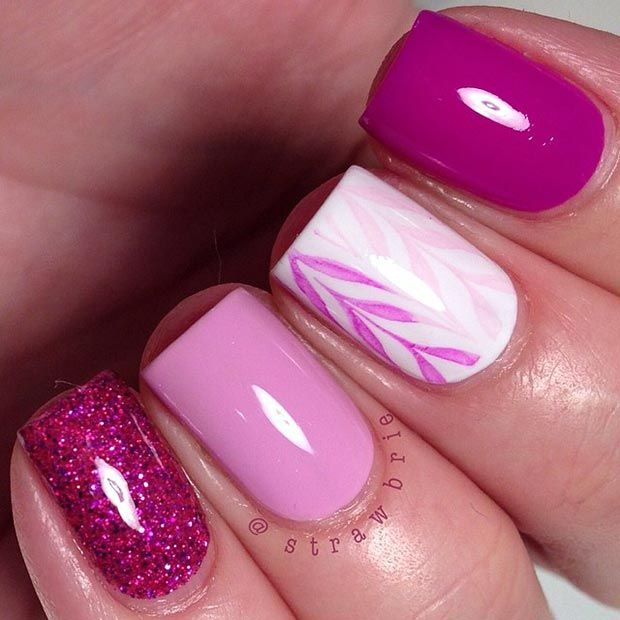Pretty Pink Nail Design For Short Nails