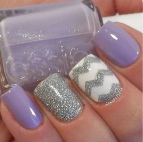 Purple Chevon Wedding Nail Idea