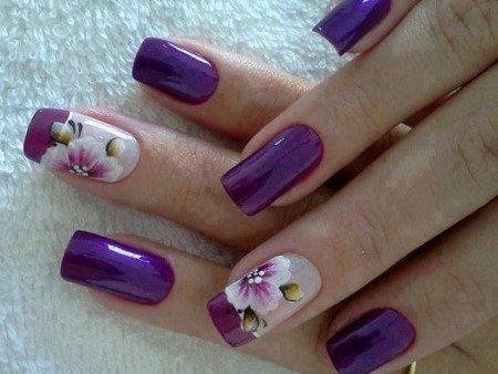 Purple Nail Design for Long Nails