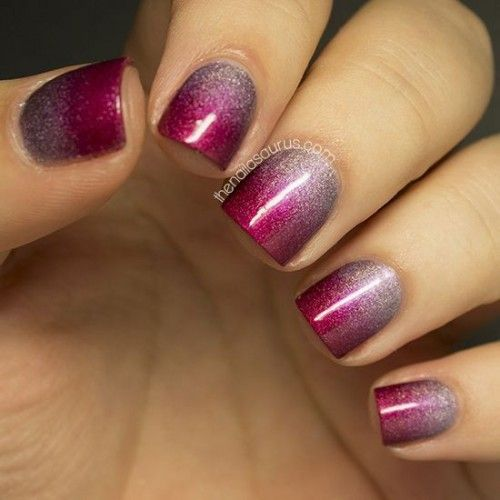Purple Ombre Wedding Nail Idea