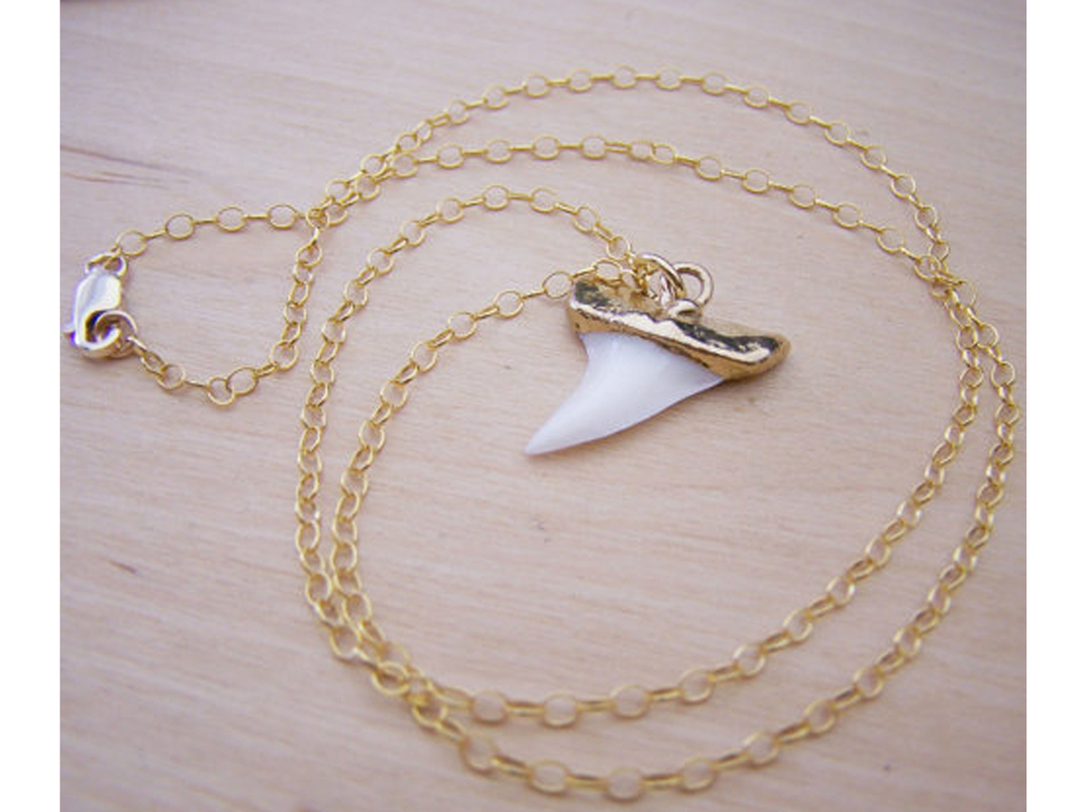Real Shark Tooth Pendant 14k Gold Filled Long Necklace Gift for Her, $32