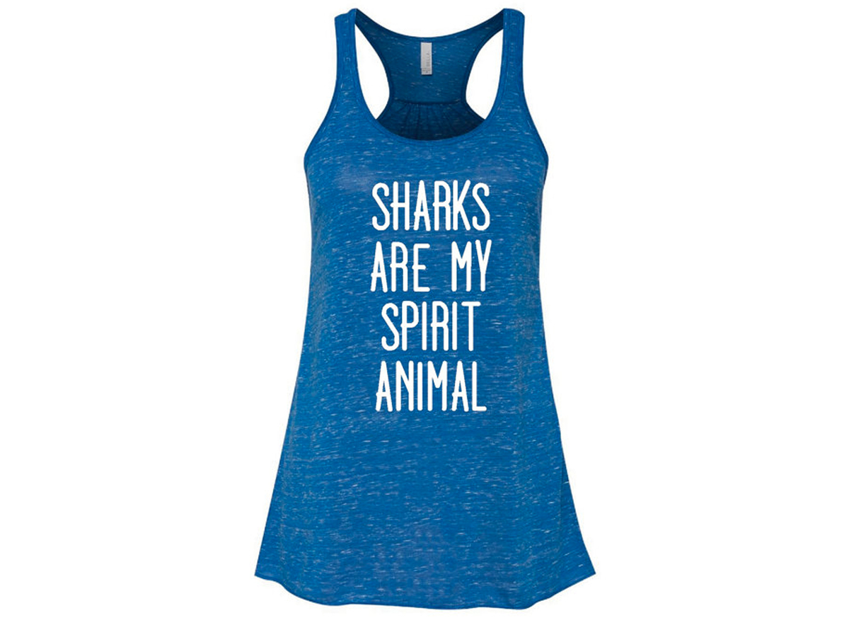 Sharks Are My Spirit Animal Bella Brand Flowy Racerback Tank, $20
