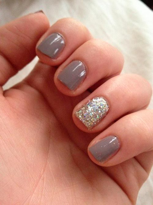 Shimmery Grey Nail Design for Short Nails - 18 Great Nail Designs For Short Nails - Pretty Designs