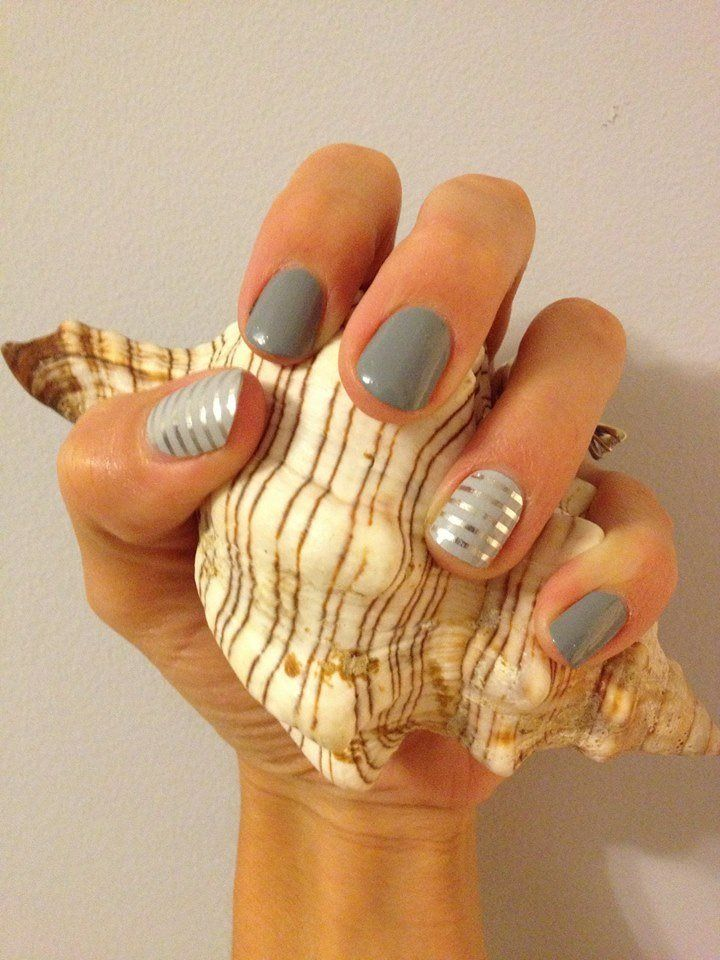 Silver and Grey Nail Design for Long Nails