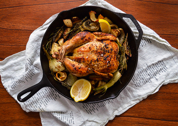 Skillet-Roasted Chicken with Parsnips, Lemon, and Fennel