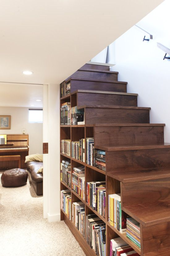 Space-Saving Bookshelf Under The Stairs