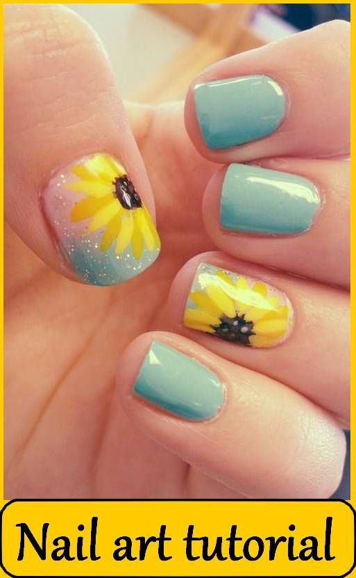 Sunflower Nail Design for Long Nails