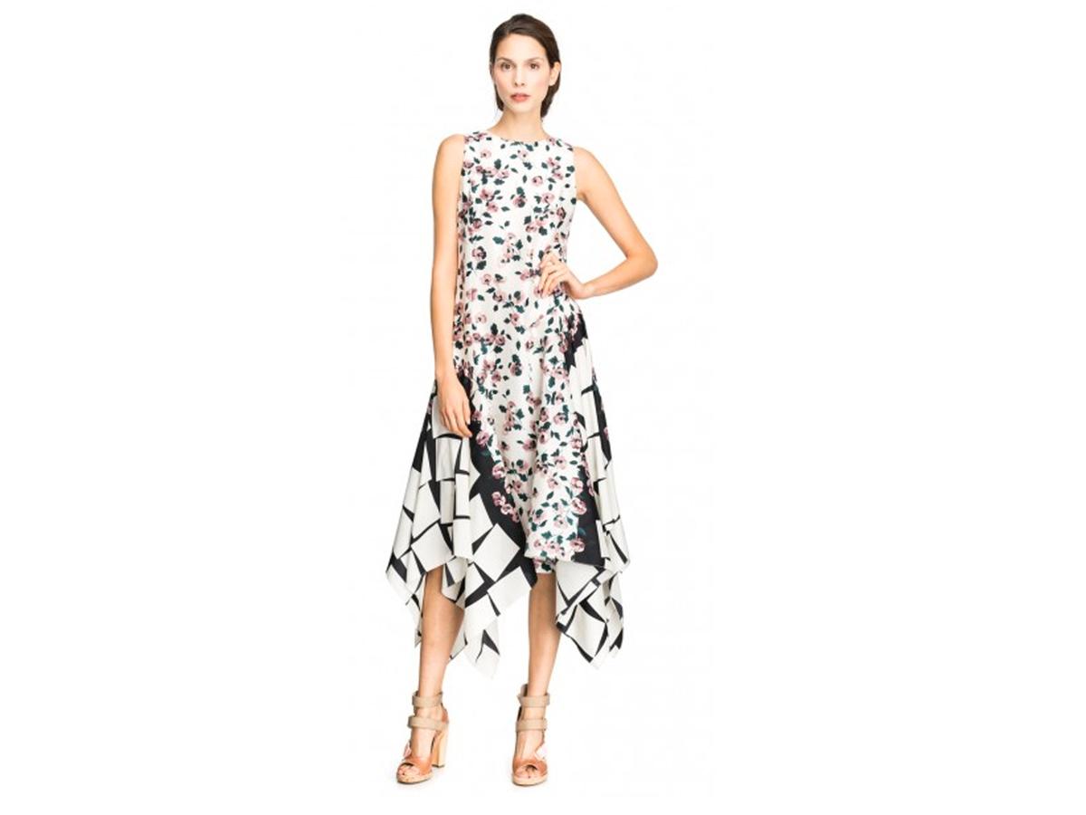Suno Floral Cubes Asymmetrical Godet Shift Dress, $537