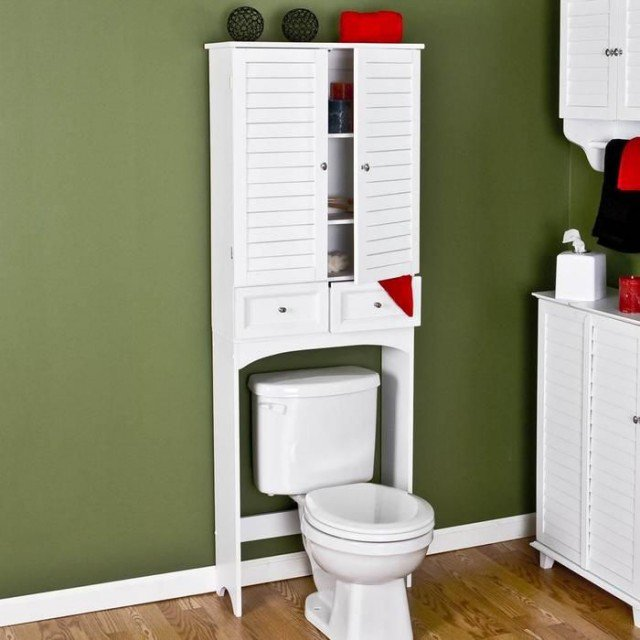 The shelf over the toilet