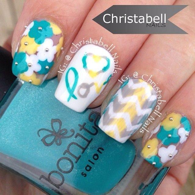 White and Blue Nail Art Design