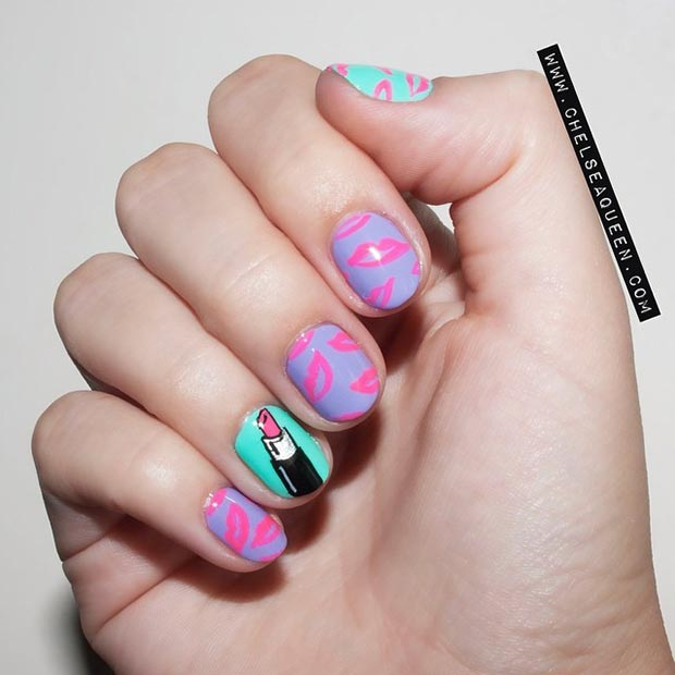 66 nail art ideas for short nails pretty designs cute lips nail design for short nails prinsesfo Images