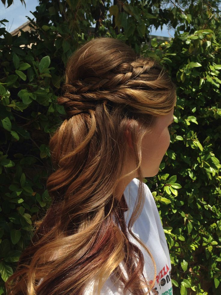 hair up braid styles homecoming hairstyles half up curly with braid www 8519