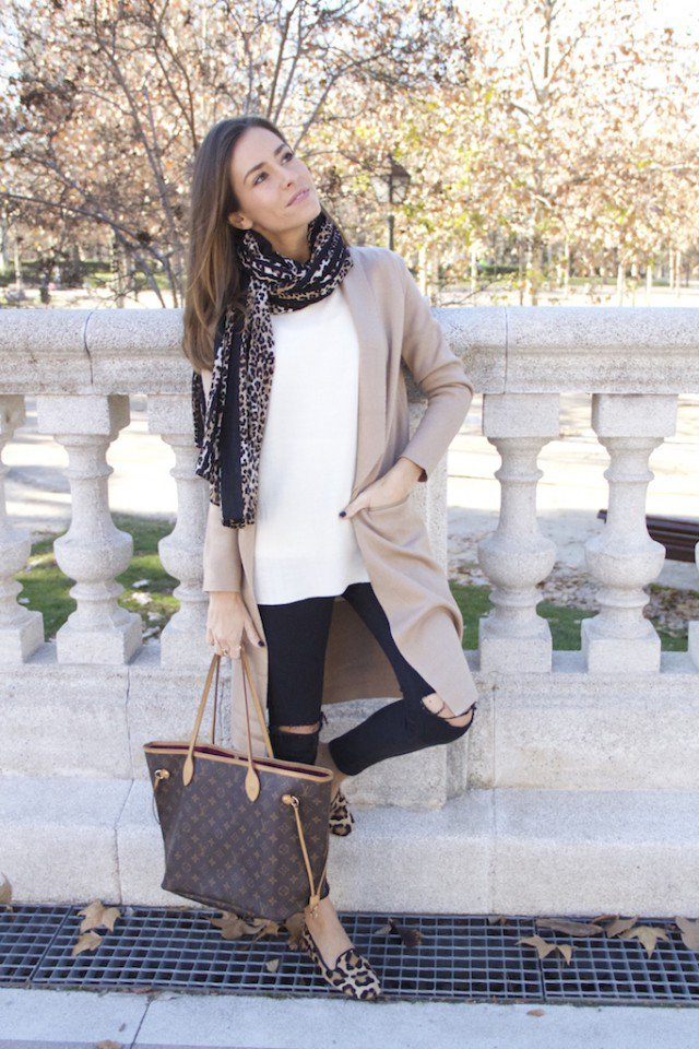 Beige Cardigan with Black Jeans