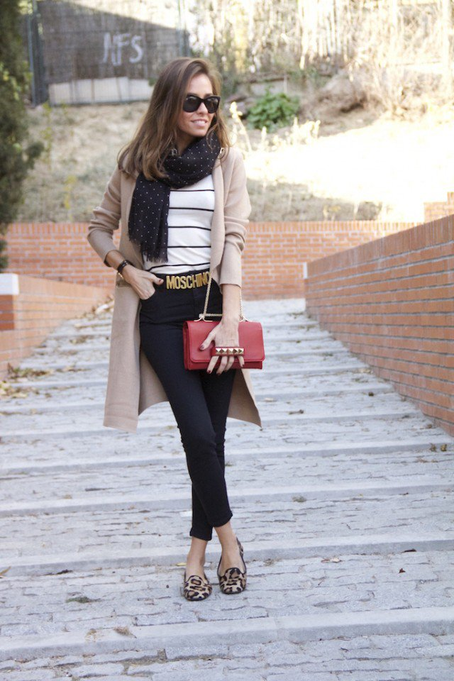 Beige Coat with Black Jeans