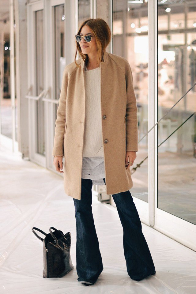 Beige Coat with Flared Jeans