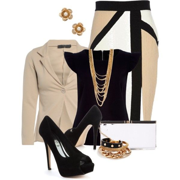Beige and Black Outfit