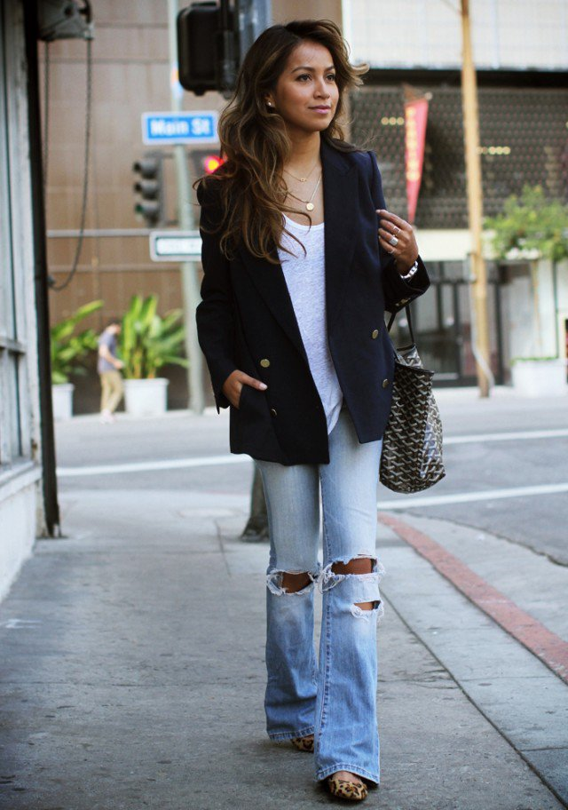 Black Blazer with Flared Jeans